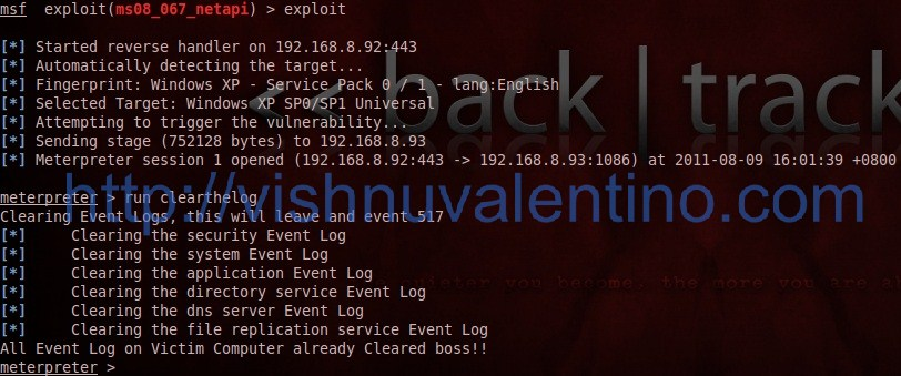 How to clear windows event log using metasploit meterpreter irb shell