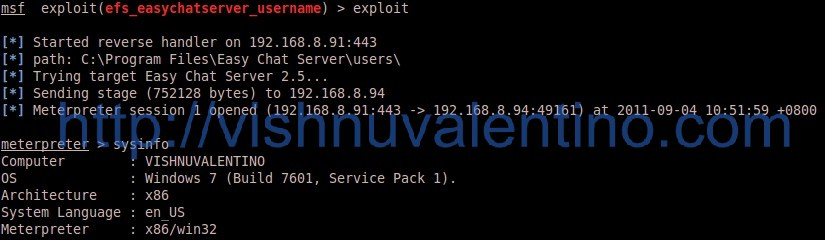 4 Steps How to Hacking Windows 7 SP1 via Easy Chat Server 2.5 (zeroday)