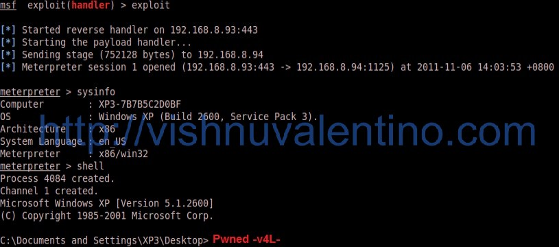Hacking into XP SP3 via Microsoft Office Excel ms11_021_xlb_bof vulnerability