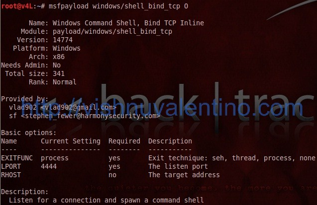 Generate a Shellcode Using MSFPAYLOAD Metasploit Command Line Instance