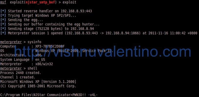 Hacking Windows XP SP3 via NJStar 300 Communicator Mini SMTP Server Vulnerability