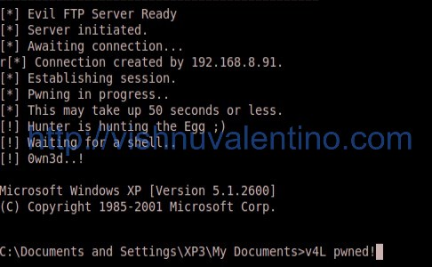 Hacking Windows XP SP3 via Script FTP Vulnerability