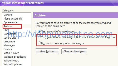 Disable Yahoo Messenger Archive