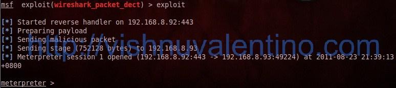 hacking windows 7 SP1 via wireshark using metasploit + backtrack 5 r1