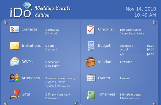 iDo Wedding Couple Main Menu