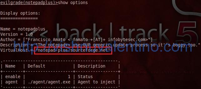 Hacking using evilgrade 2.0 on backtrack 5