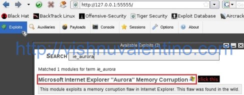Exploiting Internet Explorer 6 to Gain Administrator Priviledge Using ie_aurora.rb Web Based